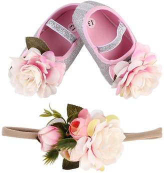 Genenic Baby Girls Toddler Mary Jane Floral Crib Princess Shoes Set,Newborn Infant Prewalker with Elastic Headband (4.5, )