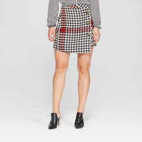 Who What Wear Women's Plaid A-Line Mini Skirt - Who What Wear Black/White