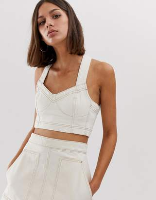 Weekday co-ord denim crop top with contrast stitching in ecru