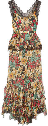 Rodarte Lace-trimmed Ruffled Floral-print Silk-satin Jumpsuit - Green