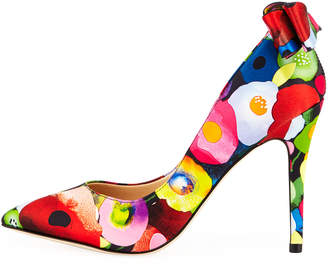 Neiman Marcus Verity High-Heel Floral Bow Pumps