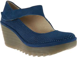 Fly London Leather Perforated Mary Janes - Yeon