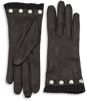 Gucci Pearl Stud Leather Gloves