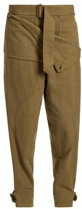 J.W.Anderson Folded Low Rise Cotton Trousers - Womens - Khaki