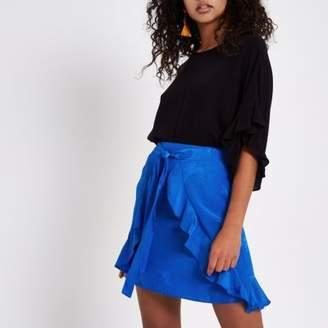 River Island Womens Blue wrap tie front jacquard mini skirt