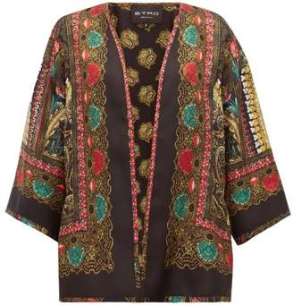 Etro Norfolk Paisley Printed Silk Jacket - Womens - Black Gold