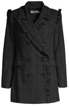 Laurèl AMUR Ruffle Trim Plaid Blazer