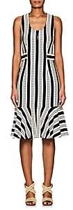 Derek Lam Women's Striped Crocheted Cotton Flounce Dress - Nav, Wht