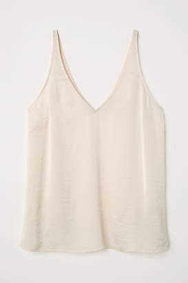 H&M V-neck Satin Camisole Top - Beige