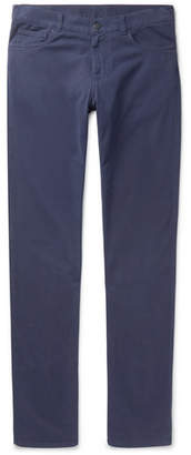 Canali Slim-fit Brushed Stretch-cotton Twill Trousers - Blue