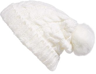 Women's Bp. Knit Beanie With Faux Fur Pompom - White $19 thestylecure.com