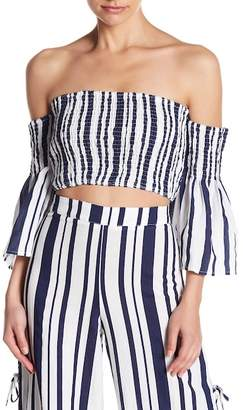 Do & Be Do + Be Stripe Shirred Off-the-Shoulder Crop Top