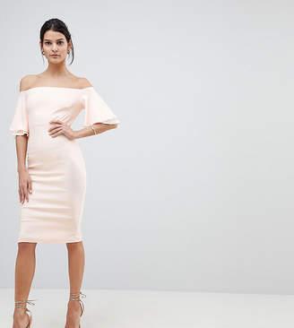 Vesper Off Shoulder Pencil Dress With Frill Sleeve