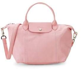 Longchamp Small Le Pliage Cuir Leather Top Handle Bag
