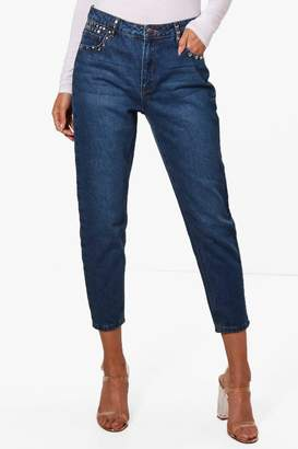 boohoo Hatty High Rise Stud Detail Boyfriend Jeans