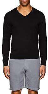 Piattelli MEN'S FINE-KNIT COTTON-BLEND V-NECK SWEATER-BLACK SIZE S