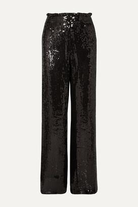Alice + Olivia Alice Olivia - Elba Sequined Crepe Wide-leg Pants - Black