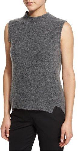 Milly Sleeveless Mock-Neck Cashmere-Blend Vest, Gray