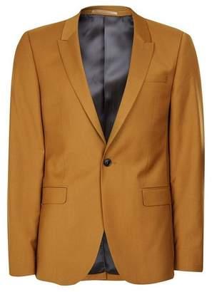 Topman Mens Yellow Dark Camel Ultra Skinny Fit Suit Jacket
