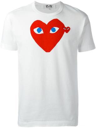 Comme Des Garçons Play logo print T-shirt $100.90 thestylecure.com