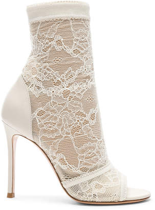 Gianvito Rossi Pizzo Stretch Nappa Ankle Booties in Off White | FWRD