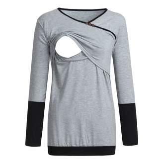 Doublelift Women's Maternity Nursing Long Sleeve Tops Patchwork Shirt Breastfeeding Clothes