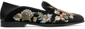 Alexander McQueen - Leather-trimmed Embroidered Velvet Loafers - Black $1,160 thestylecure.com