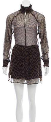 Ganni Animal Print Semi-Sheer Dress