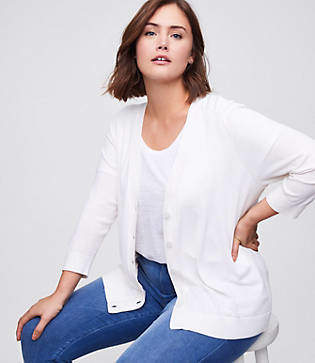 LOFT Plus 3/4 Sleeve Signature V-Neck Cardigan