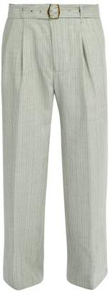 Sies Marjan - Andy Wide Leg Wool Trousers - Mens - Green