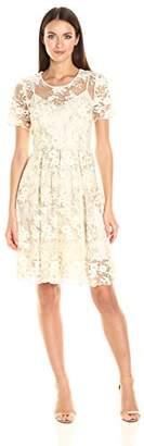 T Tahari Women's Antoinette Dress, Ivory/Gold, 6