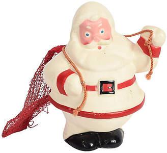 One Kings Lane Vintage Rare Santa in White Suit with Mesh Bag