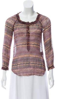 Etoile Isabel Marant Sheer Silk Printed Top