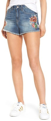 Women's Sun & Shadow Embroidered High Waist Denim Shorts $55 thestylecure.com