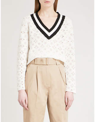 Claudie Pierlot Mainate floral crochet knitted jumper