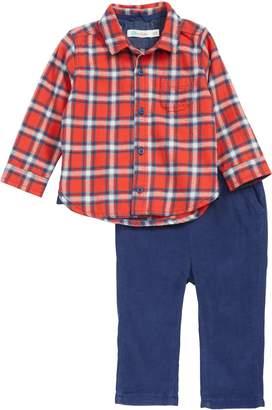 Boden Mini Flannel Plaid Shirt & Corduroy Pants Set