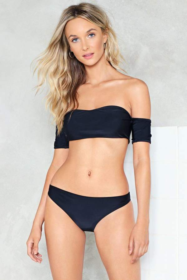 nastygal Bare All Off-the-Shoulder Bikini Set