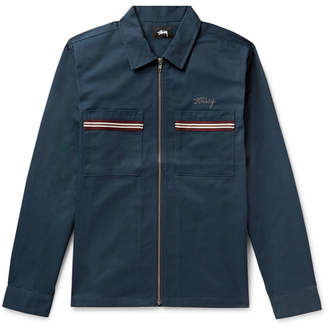 Stussy Stripe-Trimmed Logo-Embroidered Twill Shirt