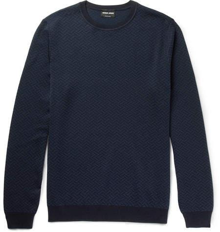 Giorgio Armani Jacquard Silk And Cotton-Blend Sweater