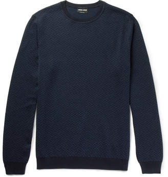 Giorgio Armani Jacquard Silk and Cotton-Blend Sweater