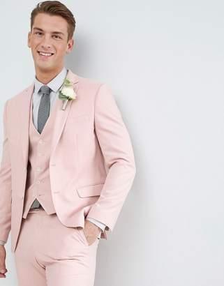 Moss Bros Wedding Skinny Suit Jacket In Light Pink