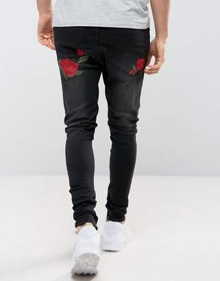 SikSilk Super Skinny Fit Jeans With Rose Embroidery