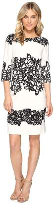 Adrianna Papell Fitted Placed Printed Lace Women's Dress