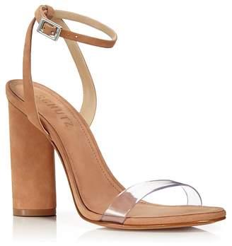 Schutz Women's Geisy Suede Illusion Ankle Strap Block Heel Sandals