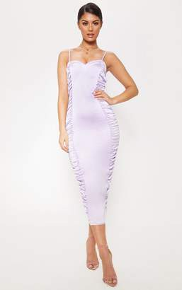 PrettyLittleThing Lilac Satin Ruched Midaxi Dress