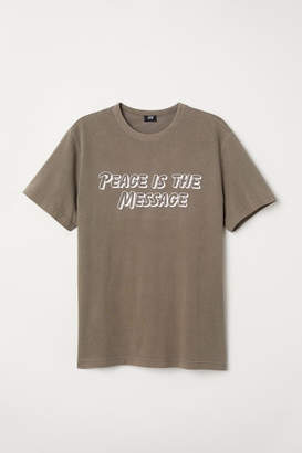 H&M T-shirt with Printed Text - Green