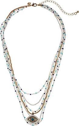 Rebecca Minkoff Women's Layered Beads Evil Eye Necklace