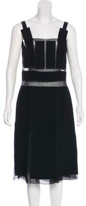 Prada Semi-Sheer Paneled Midi Dress
