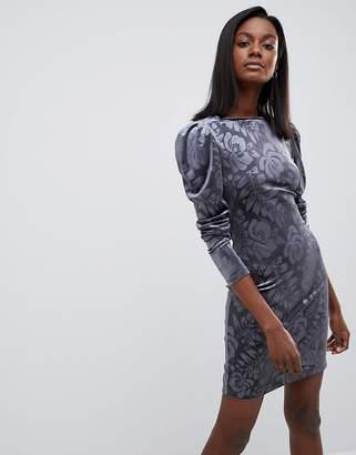 Oasis Embossed Puff Sleeve Dress