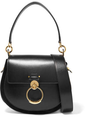 Chloé Tess Leather And Suede Shoulder Bag - Black